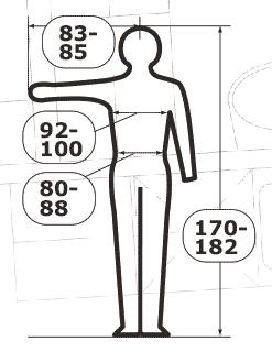 Piktogram s označením velikostí oděvů